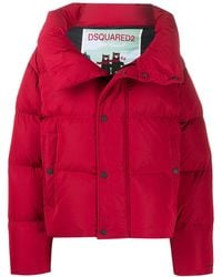 DSquared² Oversized Quilted-down Coat - Red