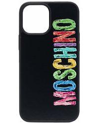 Moschino Iphone 12 Pro Max Hoesje Met Logoprint - Zwart