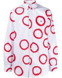 Vivienne Westwood Circle print logo embroidered shirt - Bianco