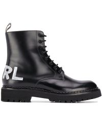 Karl Lagerfeld Troupe ロゴ レザーブーツ - ブラック