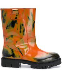 Moschino Массивные Ботинки С Принтом - Оранжевый