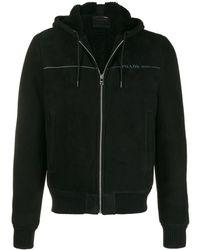 Prada Hoodie Met Rits En Logo - Zwart