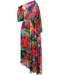 Pinko Tropical Print Asymmetric Dress - Green