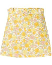 Faithfull The Brand Floral Print Belted Shorts - Yellow