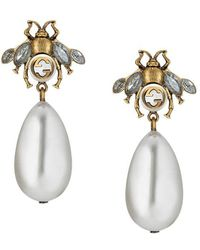 Gucci Bee Earrings With Drop Pearls Lyst