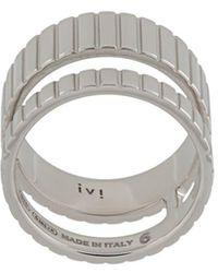Ivi Slot Double-band Ring - Metallic