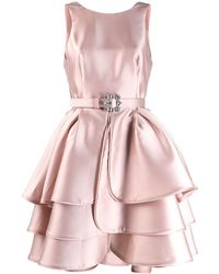 Alberta Ferretti ラッフル ベルテッドドレス - ピンク