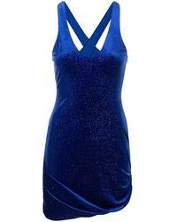 Alice McCALL Vestido corto metalizado con cuello en V - Azul