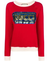Gucci - Sequined Logo Sweatshirt - Lyst