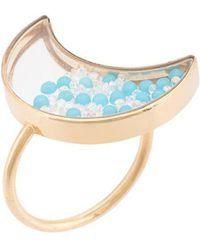 Moritz Glik - Moon Ring With Turquoises & White Saphires - Lyst