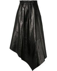 Proenza Schouler アシンメトリー レザースカート - ブラック