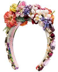 Dolce & Gabbana Embellished Floral Headband - Red