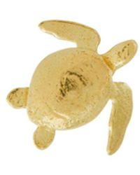Alex Monroe Teeny Tiny Sea Turtle ピアス 18kイエローゴールド - メタリック