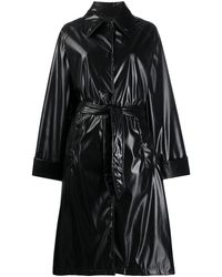 MM6 by Maison Martin Margiela Leather-look Patent Trench Coat - Black
