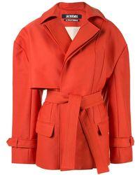 Jacquemus Короткое Пальто Асимметричного Кроя - Красный