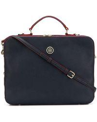 Tommy Hilfiger Logo Plaque Laptop Bag - Blue