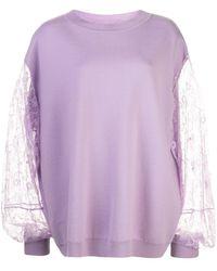 Adam Lippes Wool Lace Sleeve Jumper - Purple