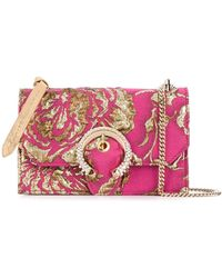 Jimmy Choo Парчовая Сумка Paris С Цветочным Узором - Розовый