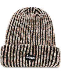 Supreme Rainbow Knit Beanie Hat - Black