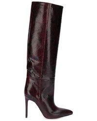 Paris Texas Snake-print Stiletto Boots - Red