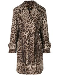 Dolce & Gabbana - Leopard Print Belted Coat - Lyst