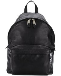 Moschino Leather Zip Backpack - Black