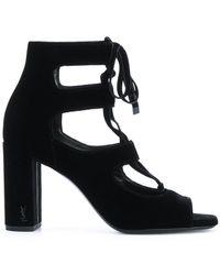 f1a03951d73 Lyst - Saint Laurent Loulou 95 Ankle Strap Sandals in Black