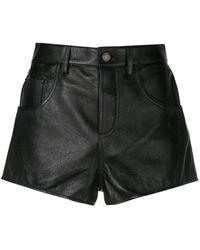 Saint Laurent Leather Flared Shorts - Black