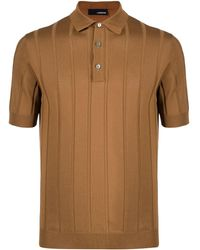 Lardini Полосатая Рубашка Поло - Коричневый
