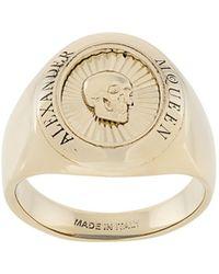 Alexander McQueen Skull Signet Ring - Metallic