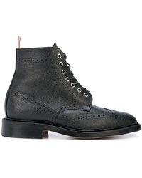 Thom Browne ウイングチップ ブーツ ブラック ペブルグレインレザー - マルチカラー
