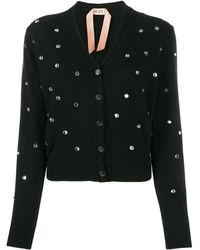N°21 Crystal Embellished Cardigan - Black