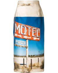 N°21 Motel-print Pencil Skirt - Blue
