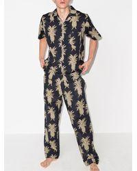 Desmond & Dempsey Camisa estilo pijama con motivo de piñas - Azul