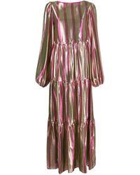 Black Coral Атласное Платье Betty В Полоску - Розовый