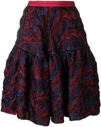 Talbot Runhof - Quilted Metallic Thread Skirt - Lyst