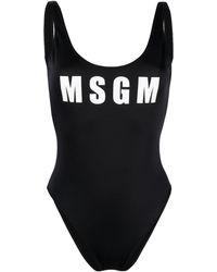 MSGM ロゴ ワンピース水着 - ブラック