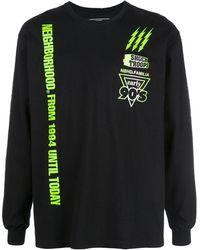 Neighborhood Graphic Print Logo Sweatshirt - Black