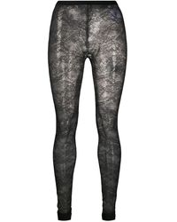 RED Valentino Sheer Floral Lace Tights - Black
