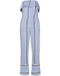 lemlem ストライプ ジャンプスーツ - ブルー