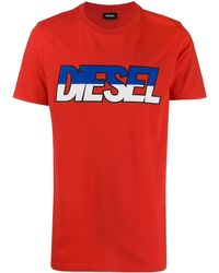 DIESEL T-shirt à logo - Rouge