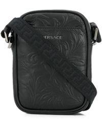 Versace レザー ショルダーバッグ - ブラック