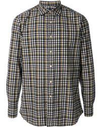 Lardini チェック スプレッドカラー シャツ - グレー