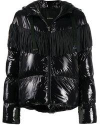 Pinko Стеганая Куртка С Капюшоном И Бахромой - Черный