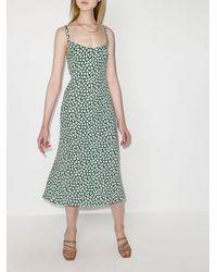 Reformation Платье Миди Avalon С Цветочным Принтом - Зеленый