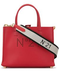 N°21 Perforated Logo Tote Bag - Red