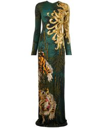 DSquared² Long Tiger Print Dress - Green