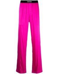 Tom Ford シルク ストレート パジャマパンツ - ピンク