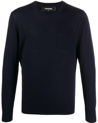 DSquared² Logo-embroidered Crew-neck Sweater - Blue