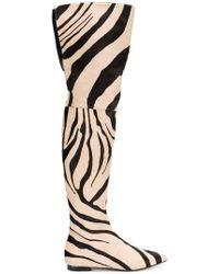 Roberto Cavalli - Zebra Print Thigh Boots - Lyst